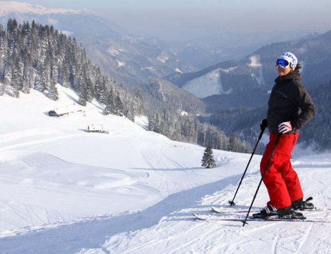 Skifahren im Skigebiet Niederalpl